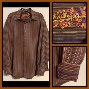 Robert Graham Flip Cuff Striped Textured Shirt